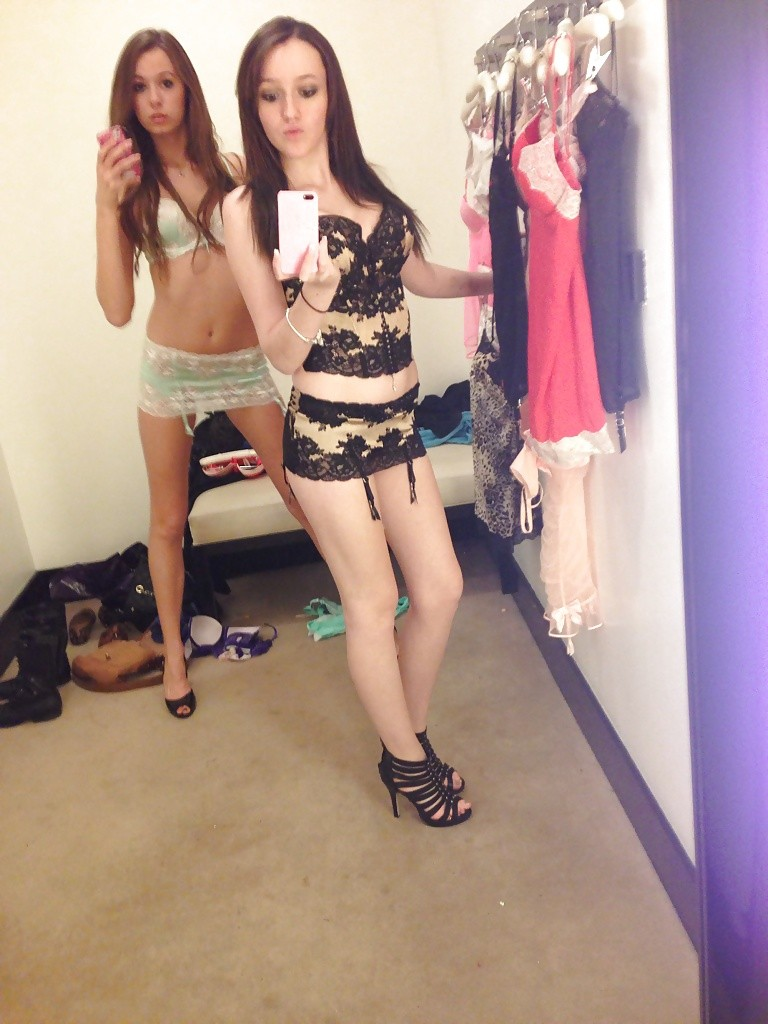 Teen selfie in changing room mirror 7